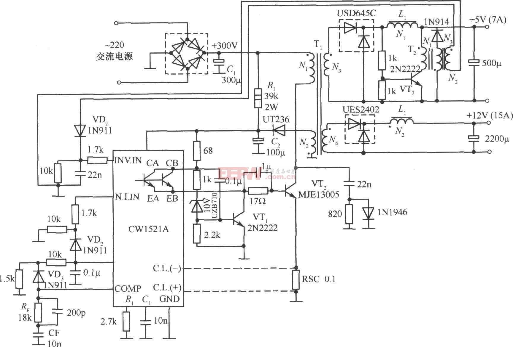 由CW1524A制作的单端正激变换隔离式开关稳压电源电路