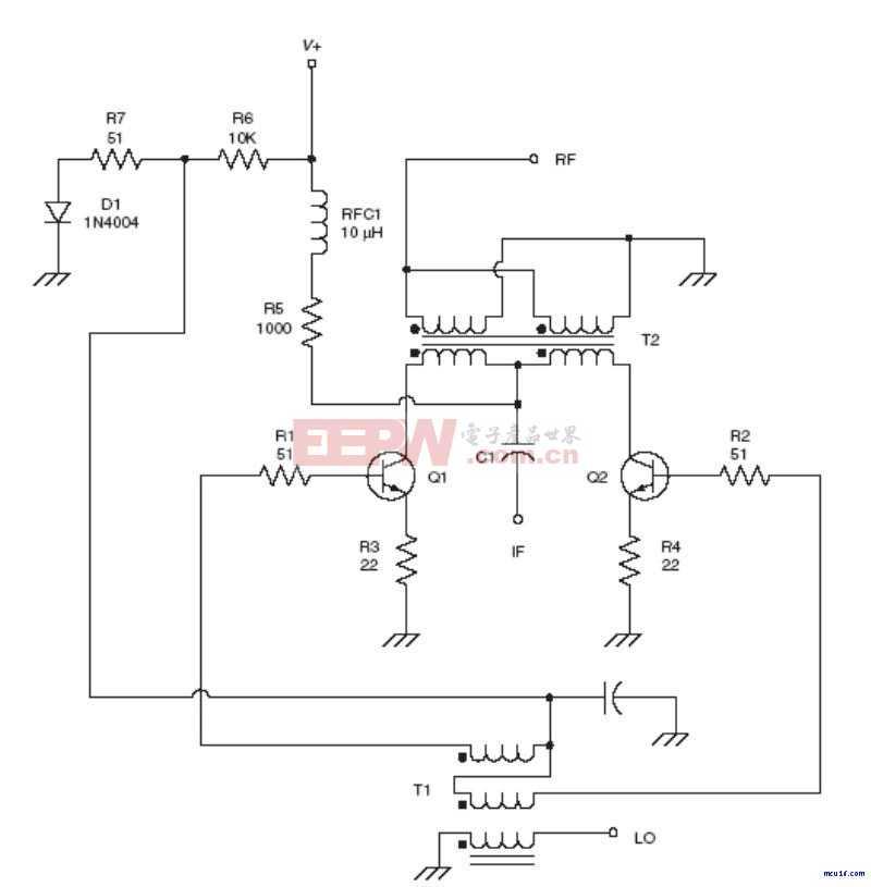 射频Mixer电路: Dual NPN mixer RF circuit