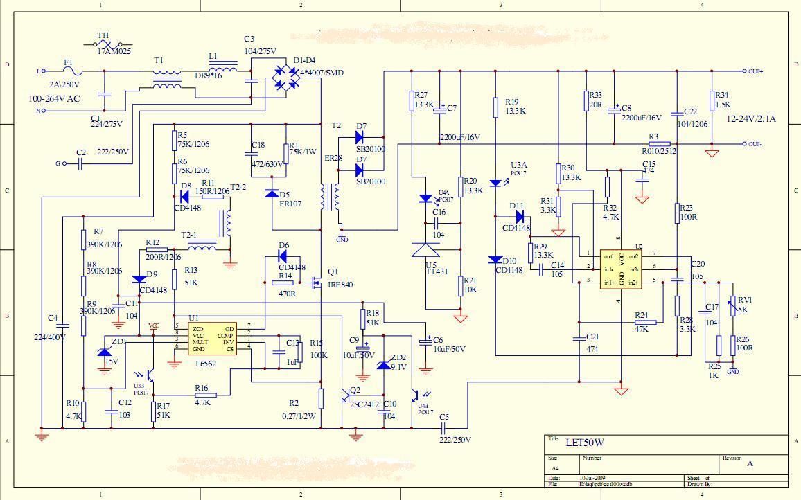 50W高功率因素LED恒流电源