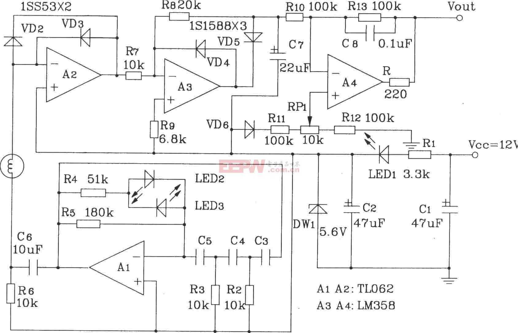 阻抗式湿敏元件简单应用电路图图片