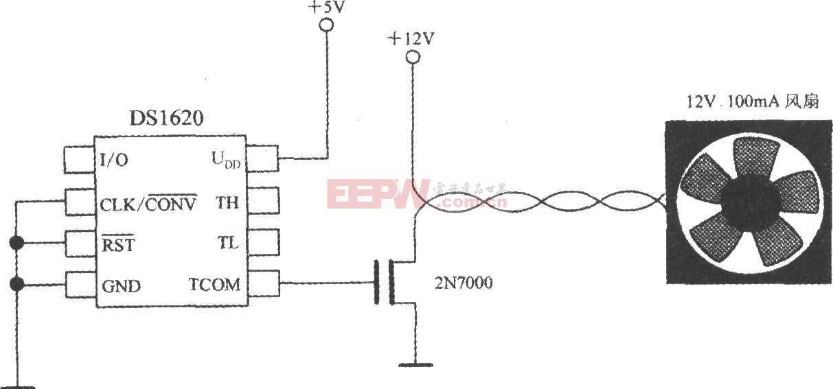 带三线串行接口智能温度传感器DS1620构成的恒温控制电路图