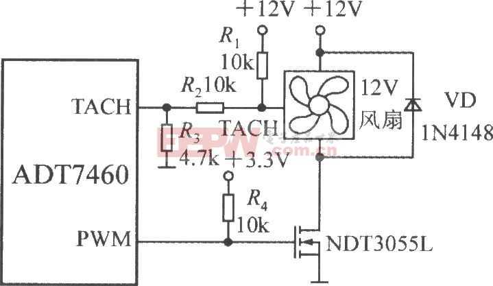 驱动一台三线风扇的电路图(智能化远程热风扇控制器ADT7460)