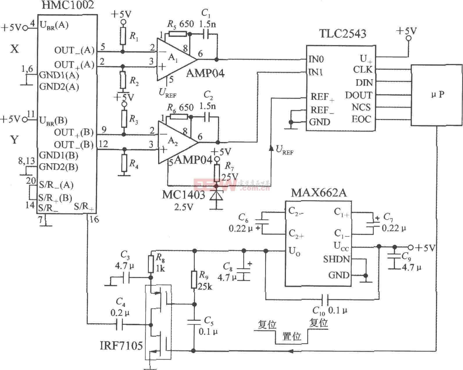 带S/R电路和串行接口的双轴磁场传感器应用电路图(集成磁场传感器HMC1002)