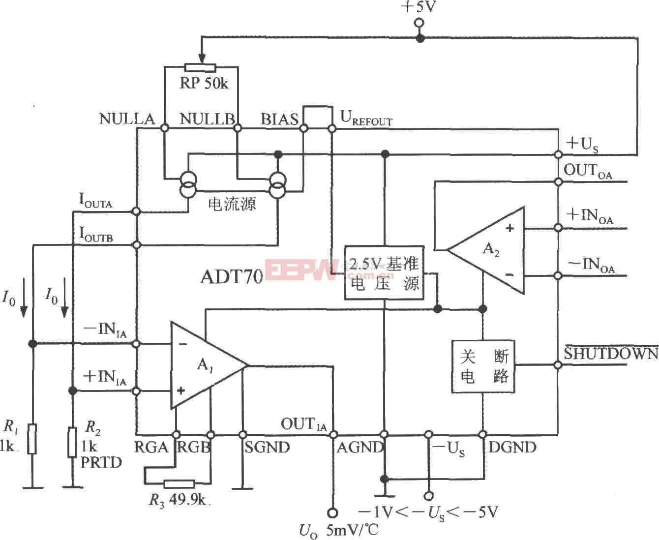 铂热电阻信号调理器ADT70的内部电路框图及典型应用电路图