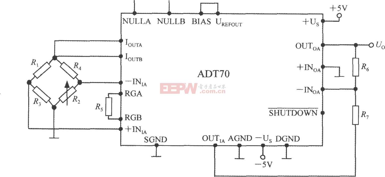 铂热电阻信号调理器ADT70ADT70在电阻应变仪中的应用电路图