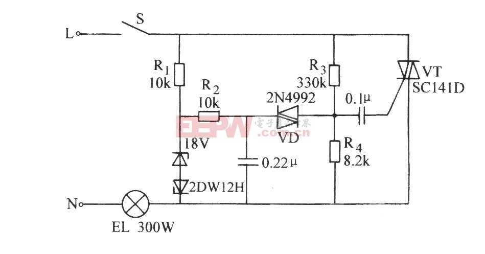 双向晶闸管延长白炽灯使用寿命电路图