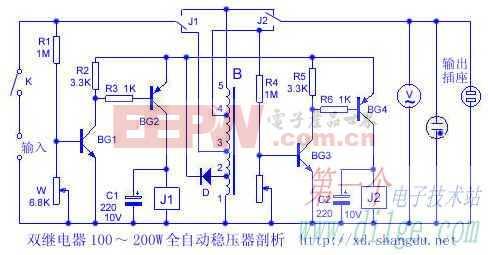 双继电器100~200W全自动稳压器剖析