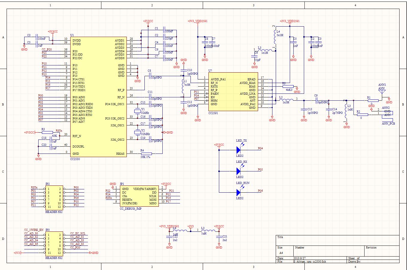 CC2530+CC2591大功率Zigbee核心板原理图
